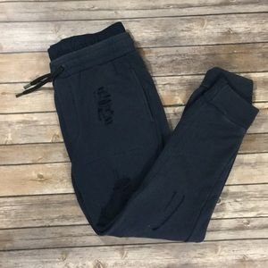 ZARA MAN navy blue distressed joggers
